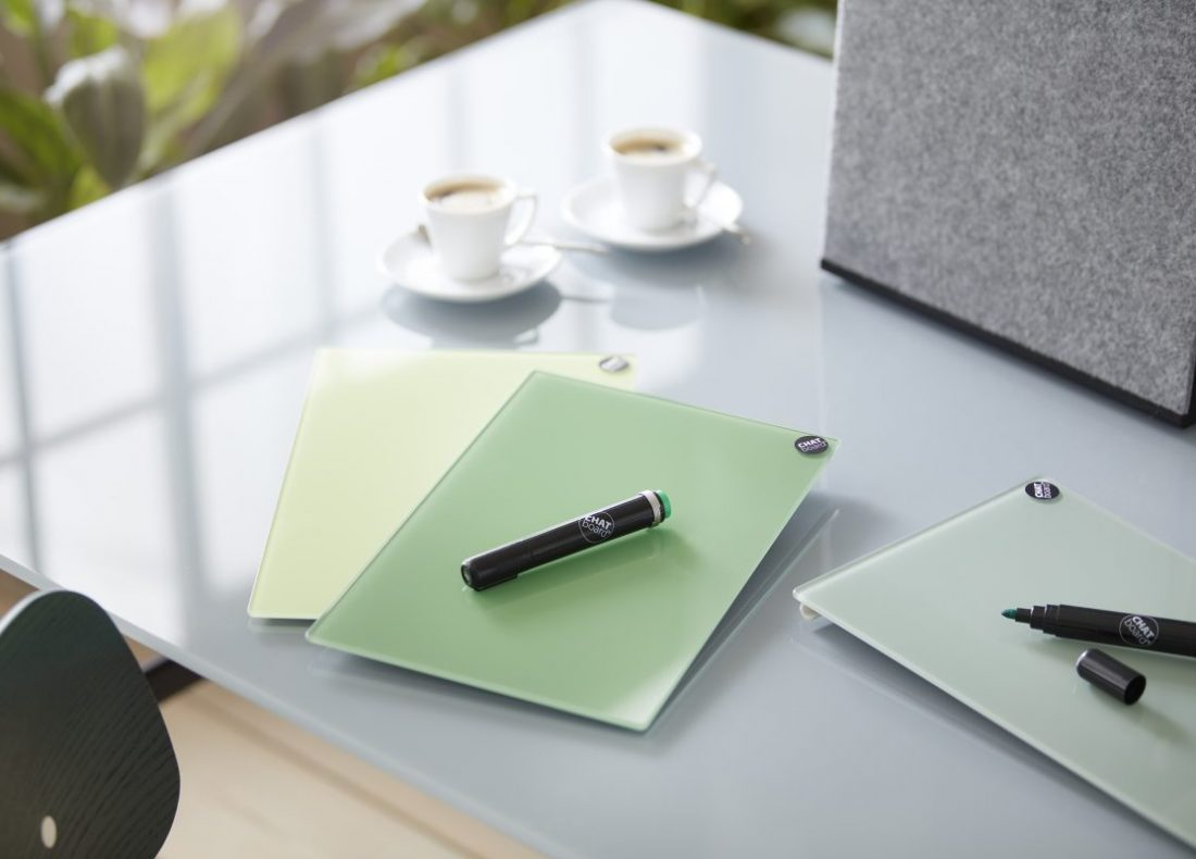 CHAT BOARD Sketch Boards in Leaf Green, Lime Green and Khaki with CAVE in Stoney Grey