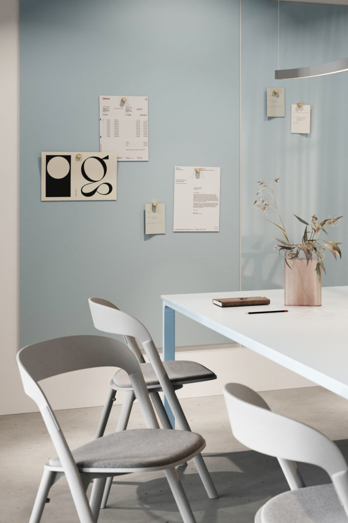 CHAT BOARD Matt and Classic in Sky Blue in conference room setting