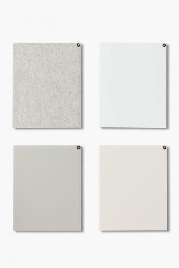 CHAT BOARD BuzziFelt magnetische Pinnwand in der Farbe Off White, mit Classic magnetischen Glastafeln in den Farben Pure White, Sand und Nude