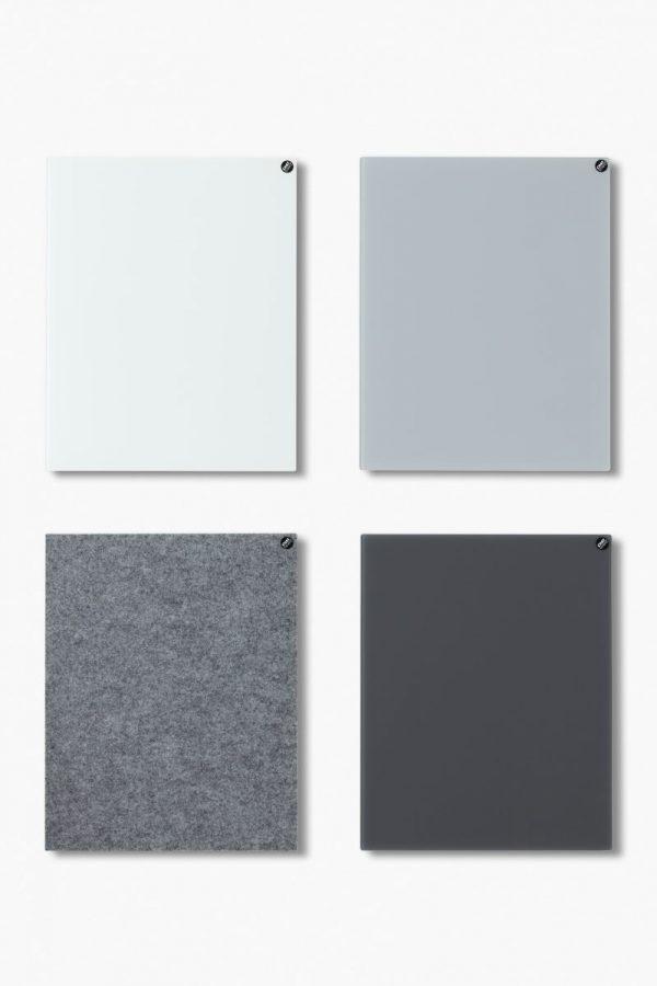 CHAT BOARD BuzziFelt magnetische Pinnwand in der Farbe Stone Grey, mit Classic magnetischen Glastafeln in den Farben Pure White, Dove und Dark Grey