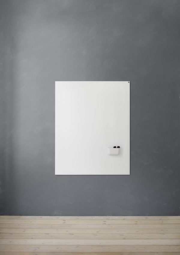 CHAT BOARD Elements magnetic glass board 120x150 Pure White on grey wall with Storage Unit Magnetic in white