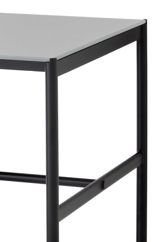CHAT BOARD MIES Collab table with Black Frame and Dark Grey glass table top end detail