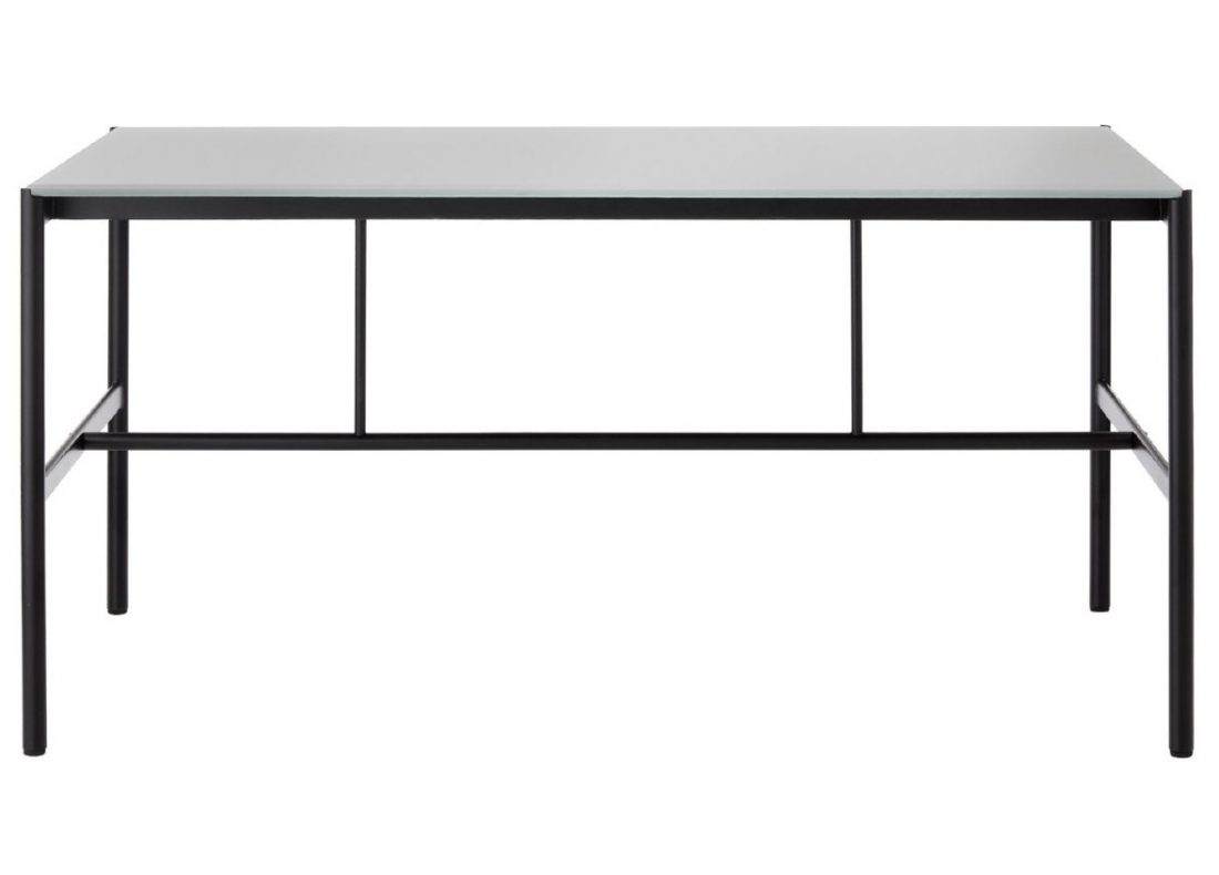 CHAT BOARD MIES Collab table with Black Frame and Dark Grey glass table front view