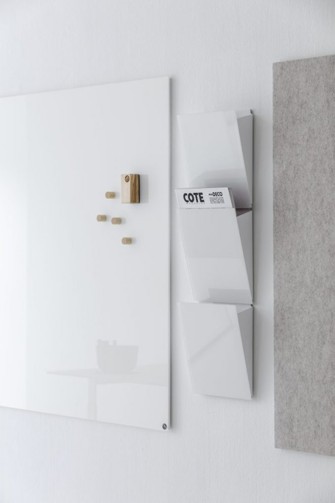 CHAT BOARD Magazine Rack 3 pieces in Pure White shown with Classic and BuzziFelt boards