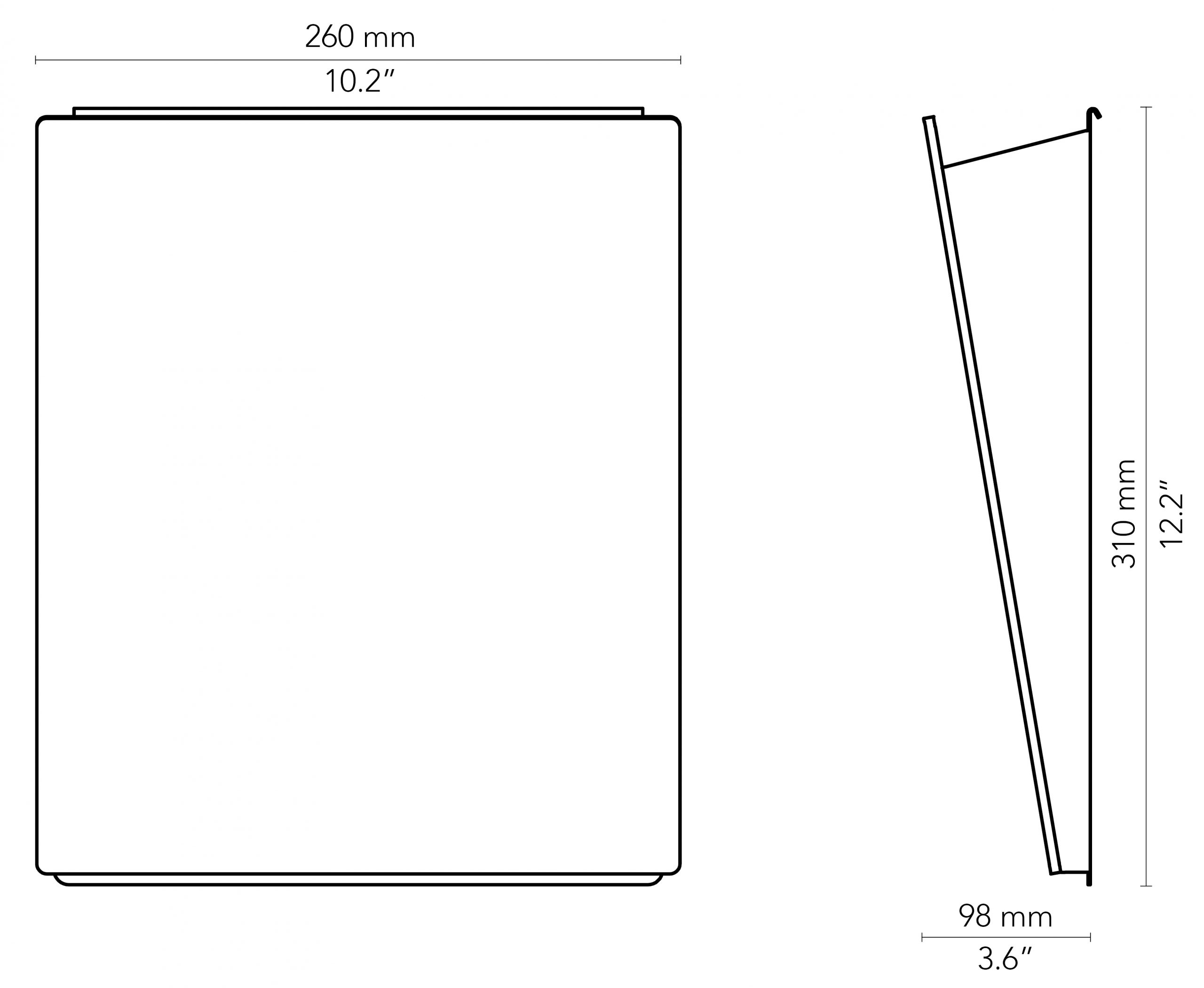 CHAT BOARD Magazine Rack drawings with measurements in mm