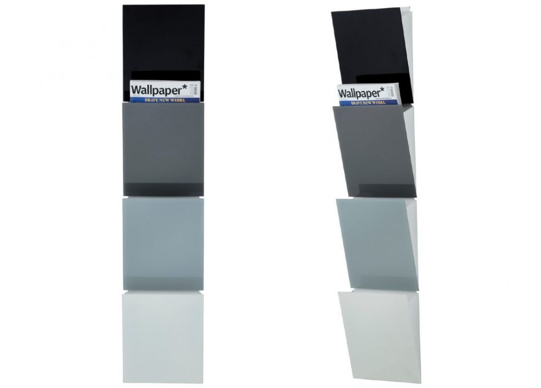 CHAT BOARD Magazine Rack four pieces shown in greyscale succession