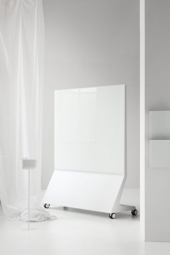 CHAT BOARD Magazine Rack in Pure White shown with Mobile Theatre Pure White