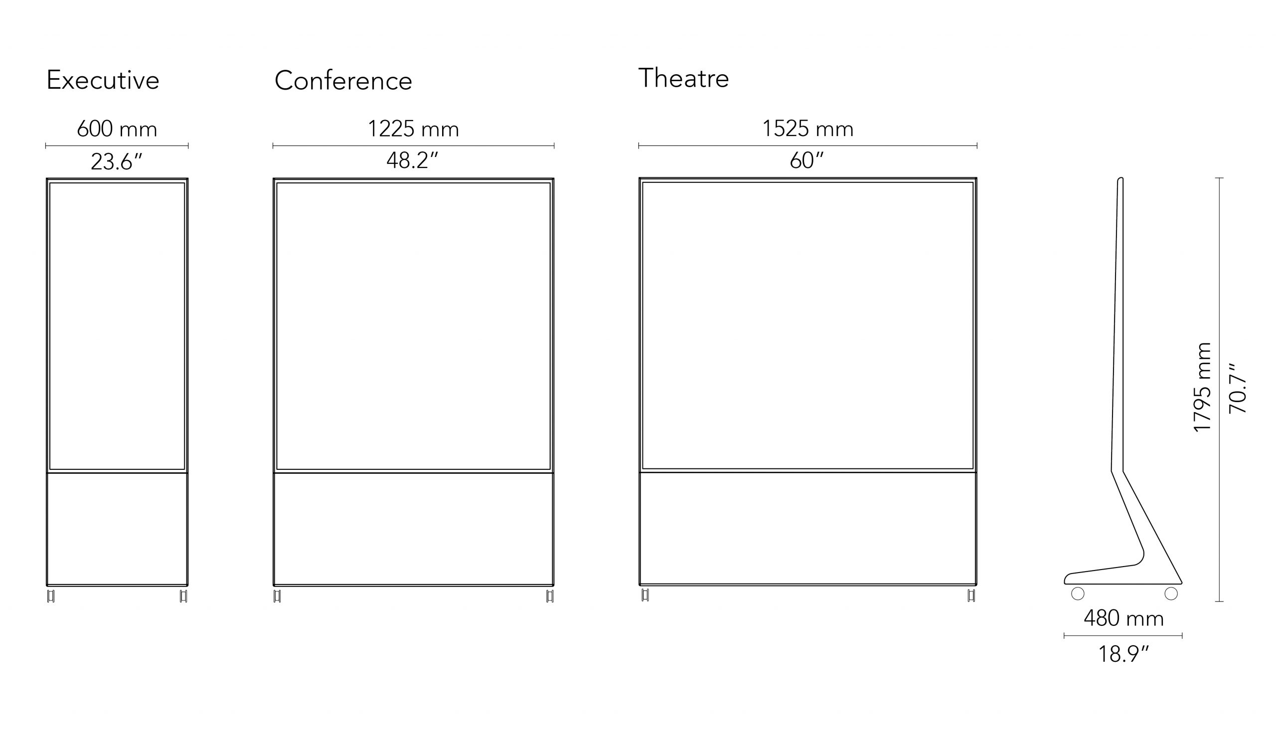 CHAT BOARD Mobile drawings with measurements in mm