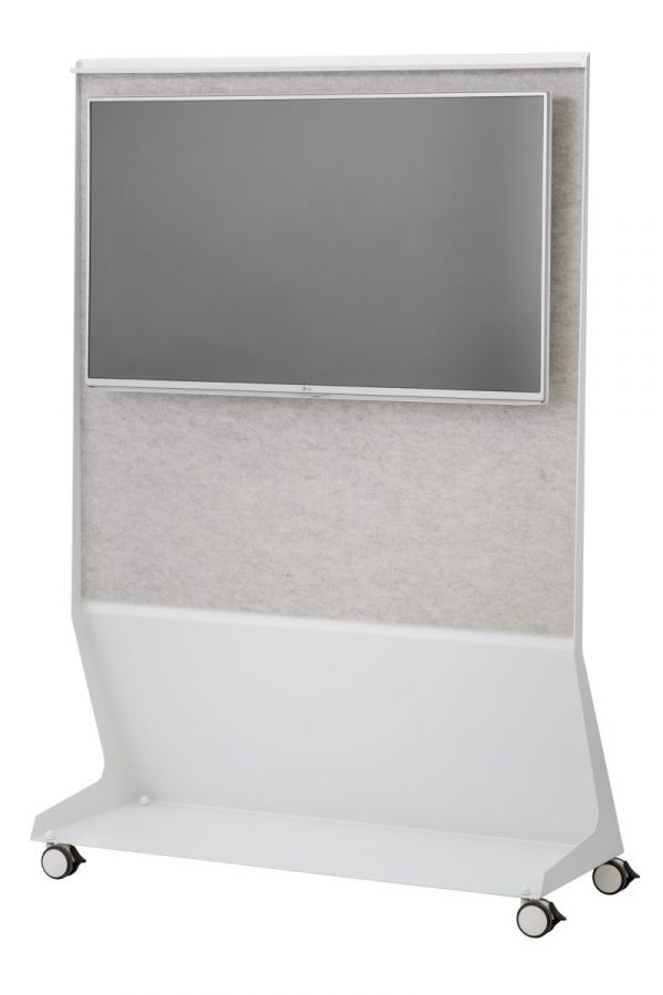 CHAT BOARD Mobile Conference back view with BuzziFelt in Off White and TV screen