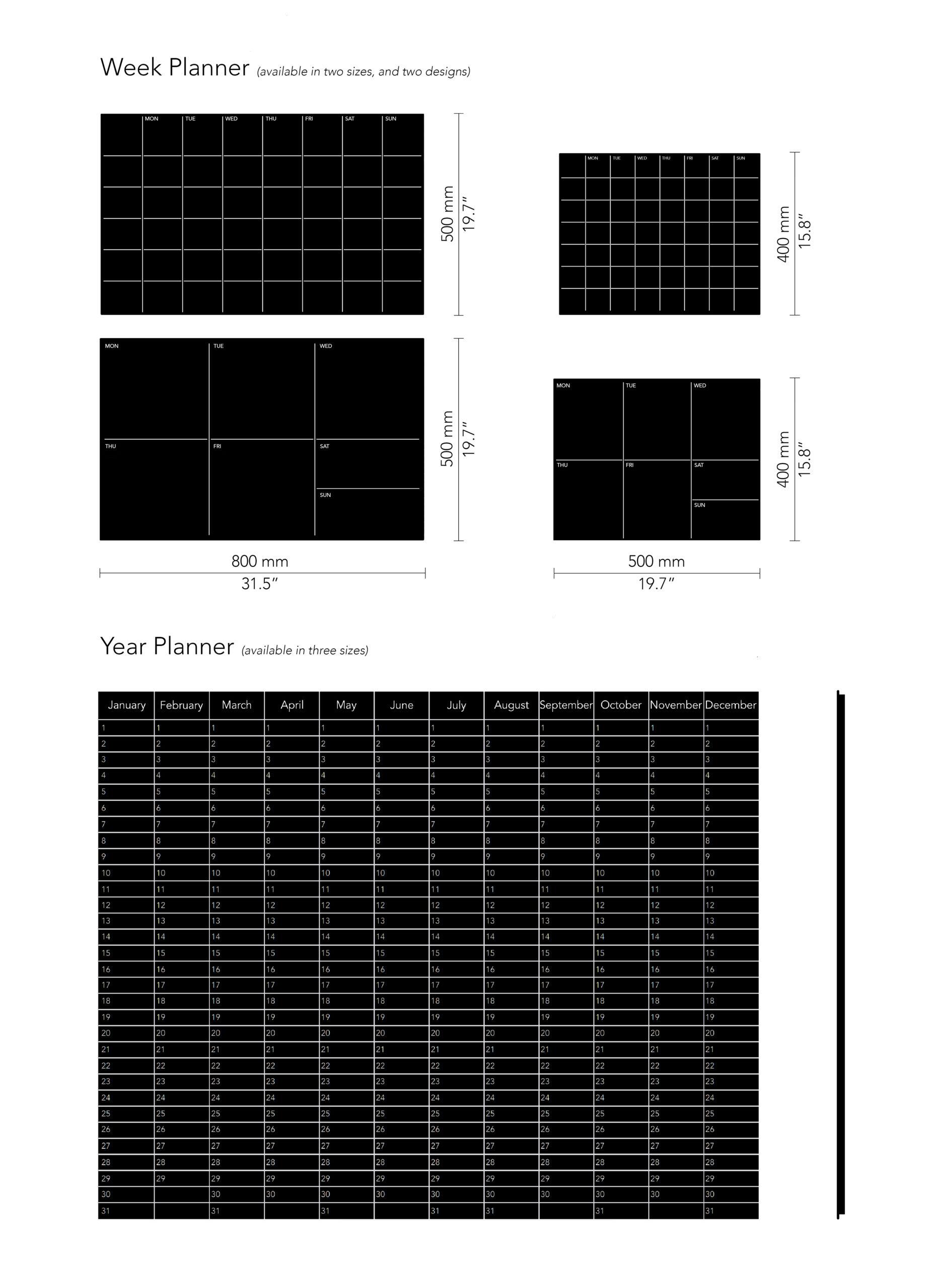 CHAT BOARD Planner drawings, black