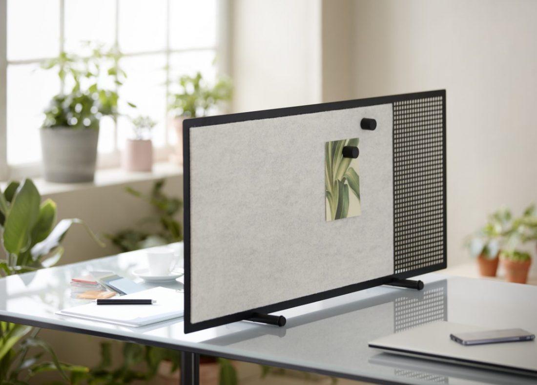 CHAT BOARD Poet desk screen in Black/BuzziFelt Off White closeup