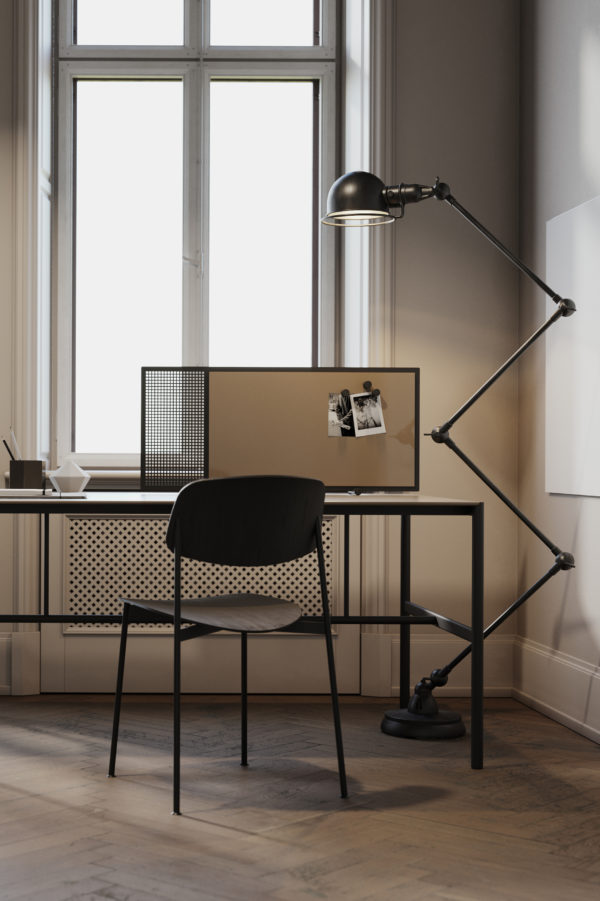 CHAT BOARD MIES Collab table with SQUAD Poet, in a home office setting