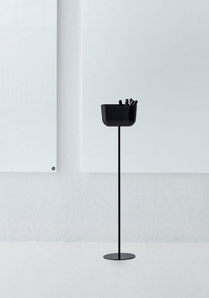 CHAT BOARD Storage Unit Floor Stand in Black on background of Pure White boards