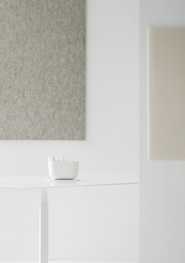 CHAT BOARD Storage Unit in White shown on table with BuzziFelt in Off White and Classic in Nude