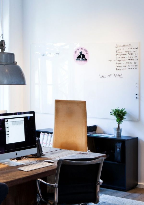 CHAT BOARD Classic Print at Joe and The Juice Copenhagen HQ, printed with logo on Pure White