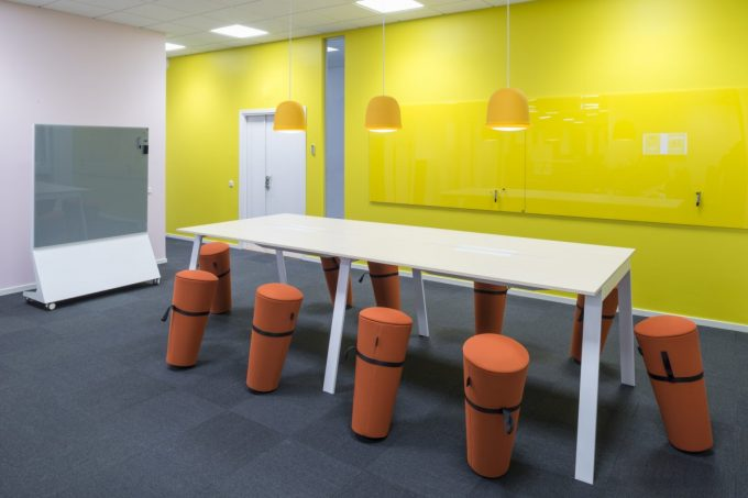 CHAT BOARD Mobile Theatre Dark Grey and Classic in Sunflower at SBAB in Stockholm designed by CE Inredningar