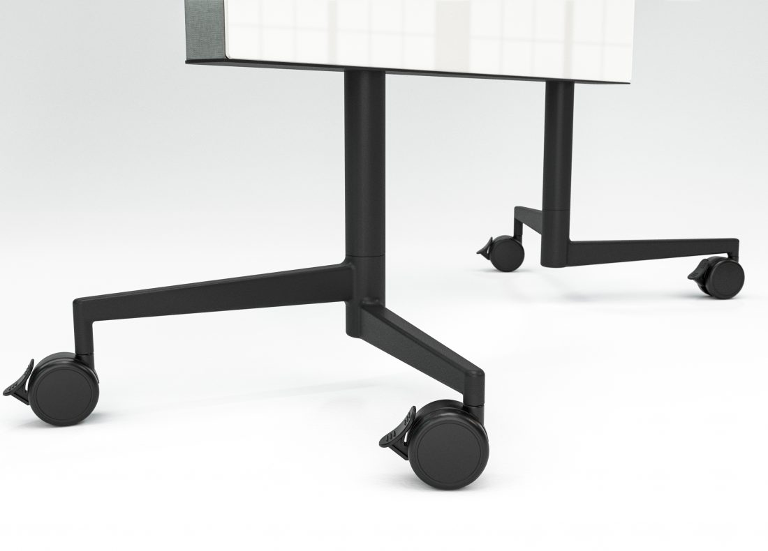 CHAT BOARD Move Acoustic detail image with cross base, glass in Pure White, fabric Remix 0143