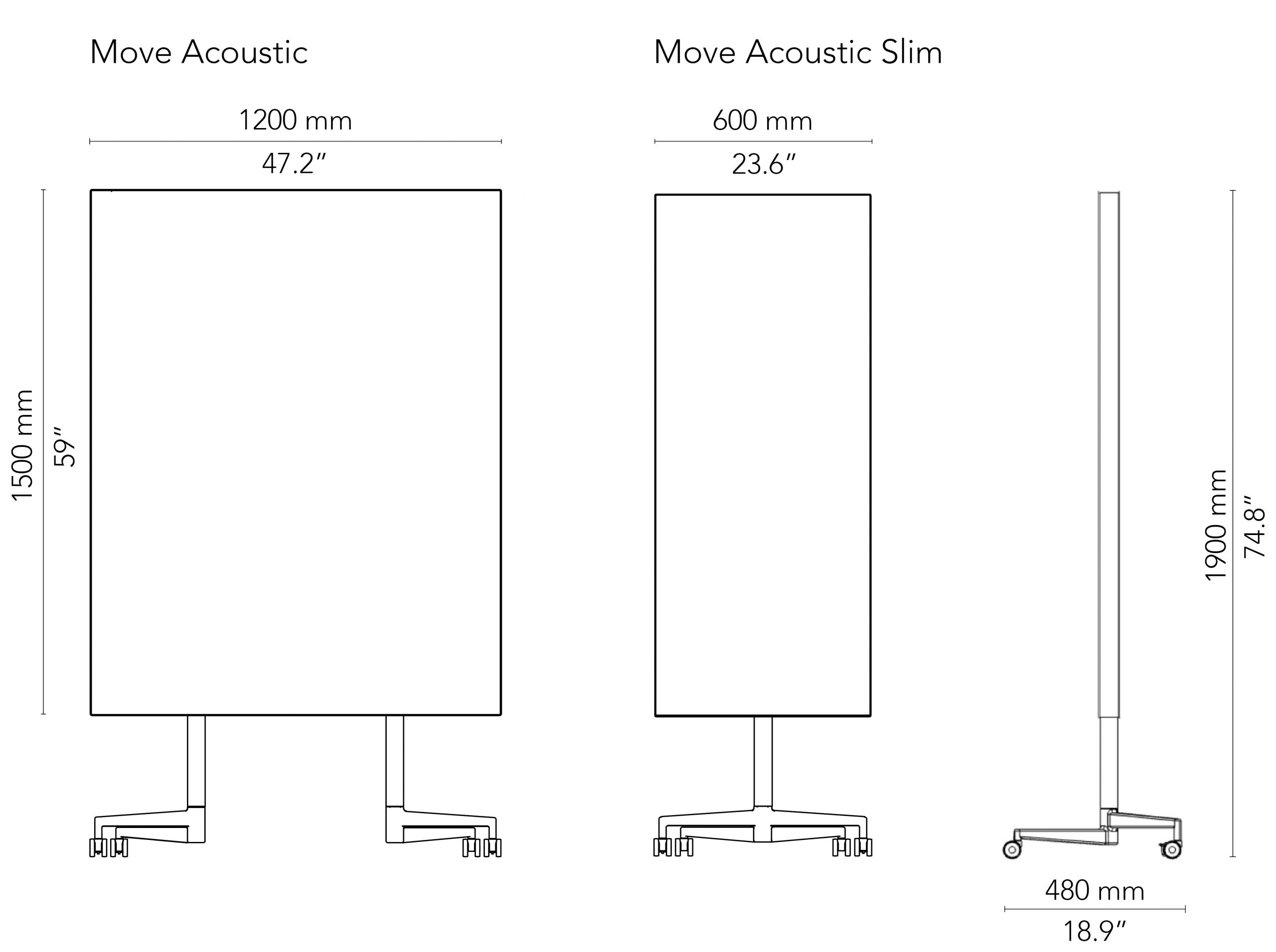 CHAT BOARD Move Acoustic drawings with measurements in mm