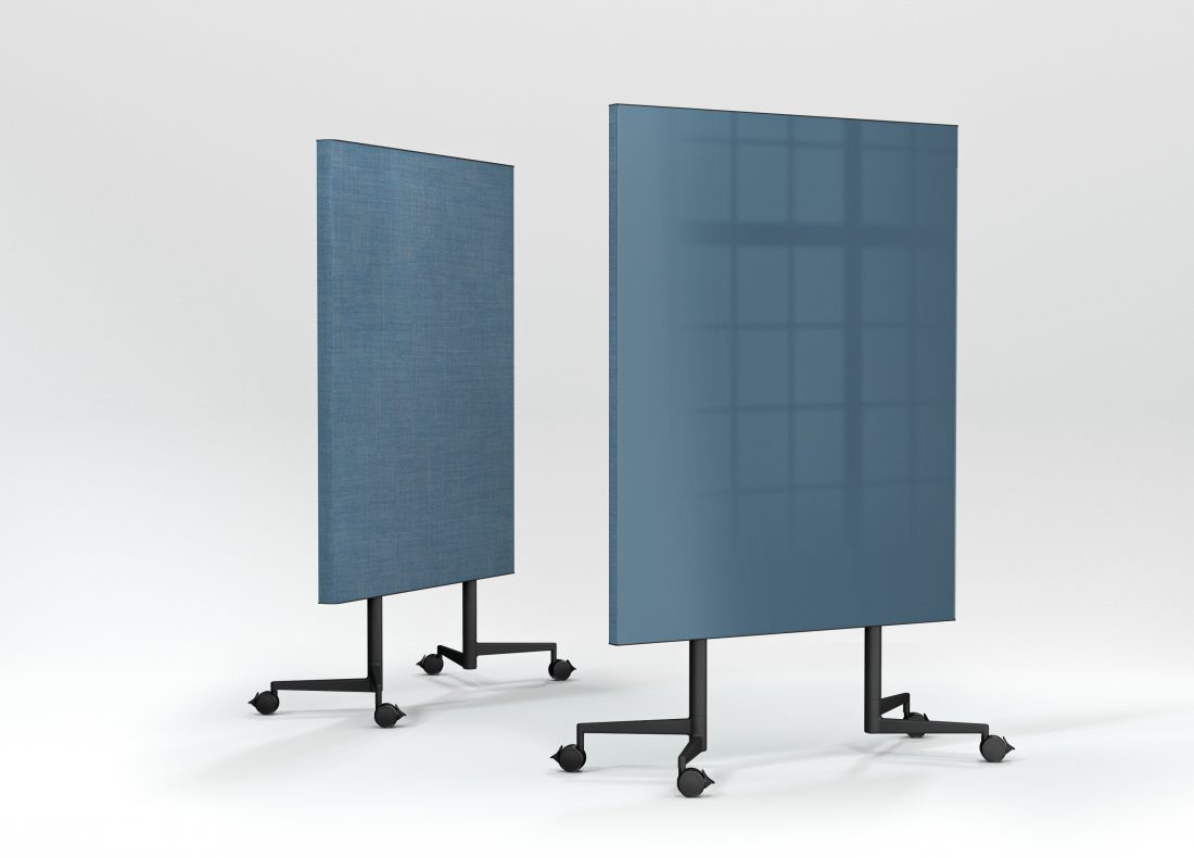CHAT BOARD Move Acoustic front and back view with glass in Denim and Remix Screen 0818