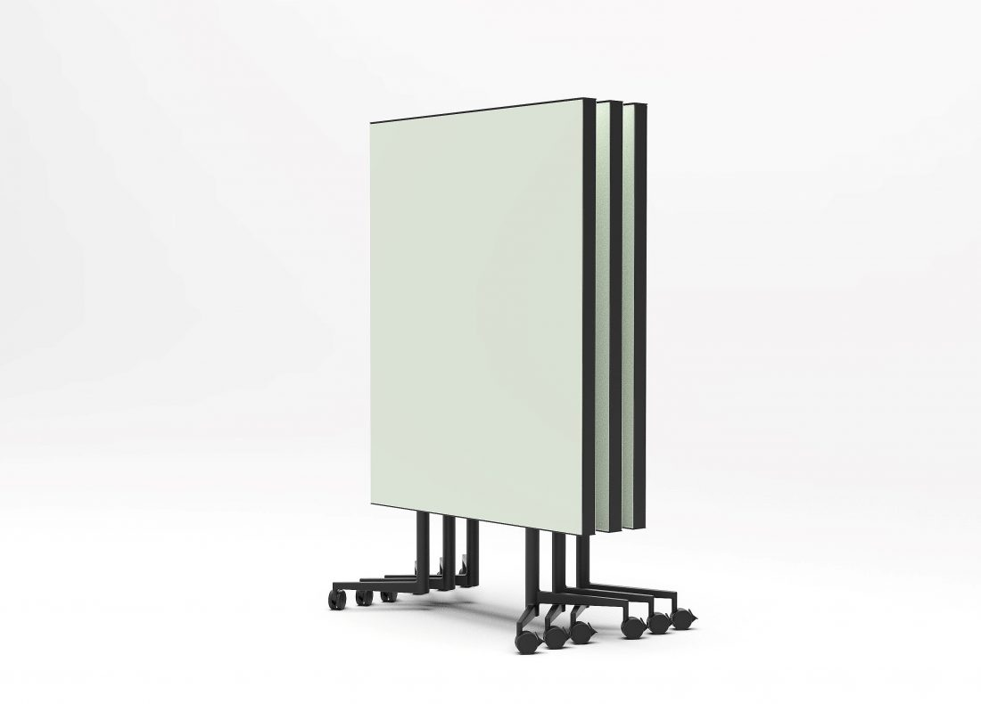 CHAT BOARD Move Acoustic with Khaki glass on both sides - three pieces stacked