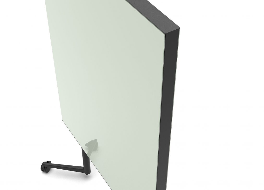 CHAT BOARD Move Acoustic with Khaki glass on both sides -top detail