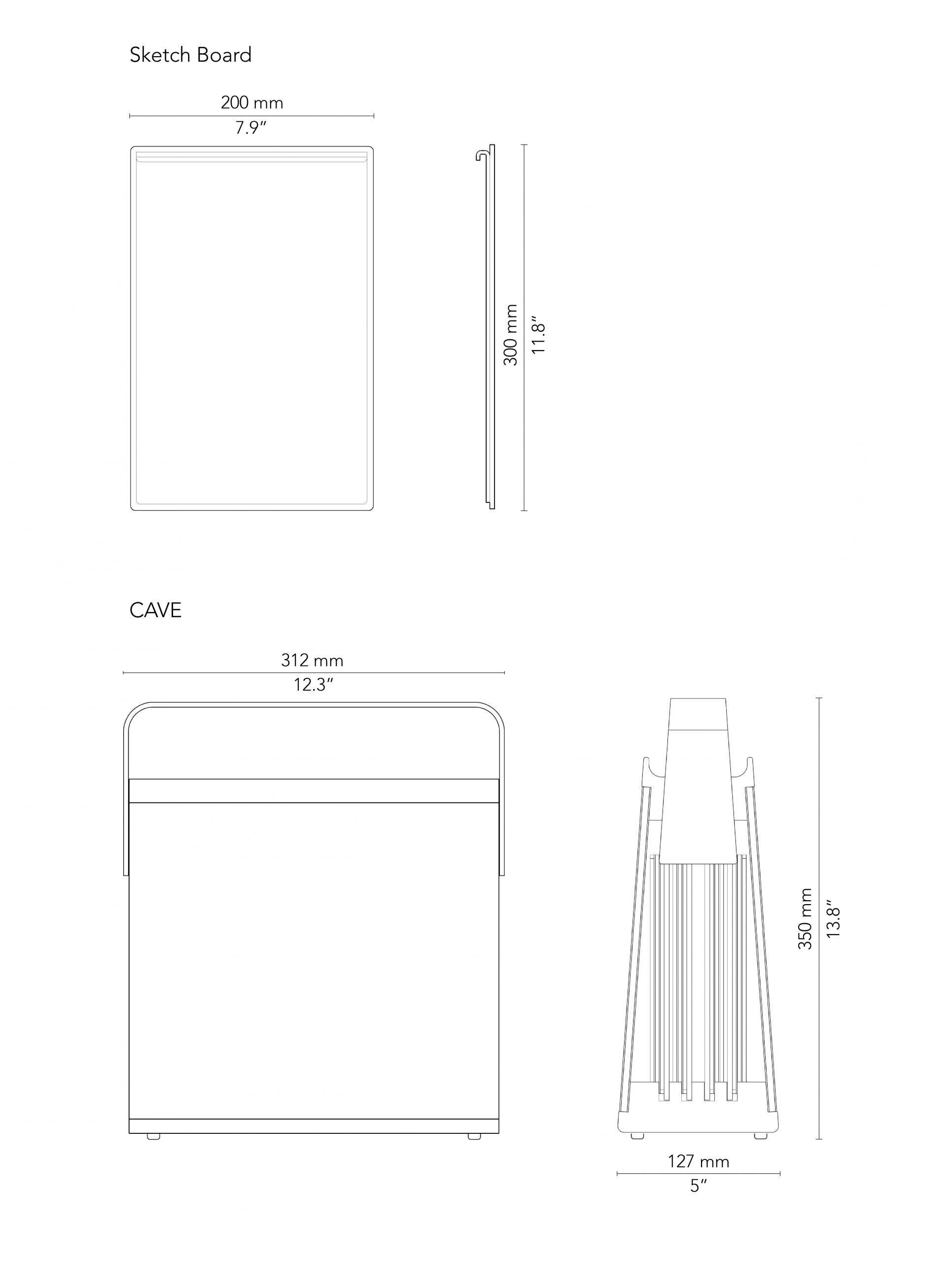 CHAT BOARD CAVE and Sketch Board drawings with measurements in mm