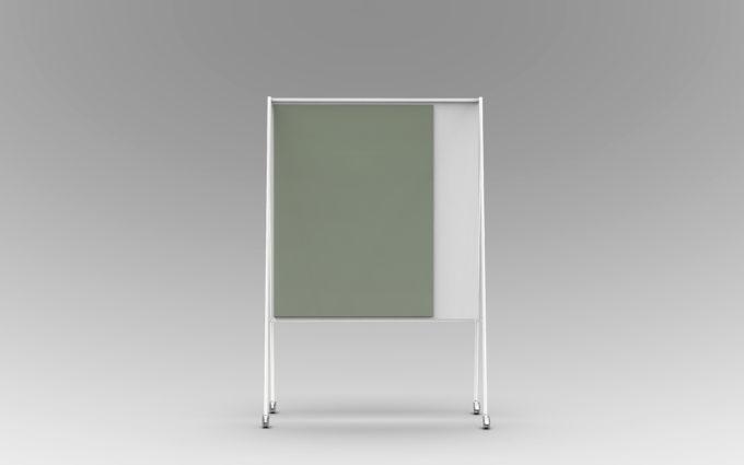 CHAT BOARD SQUAD Solid The Teacher, white with glass in Army Green - frontal view
