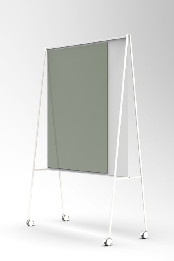 CHAT BOARD SQUAD Solid The Teacher, white with glass in Army Green - perspective view
