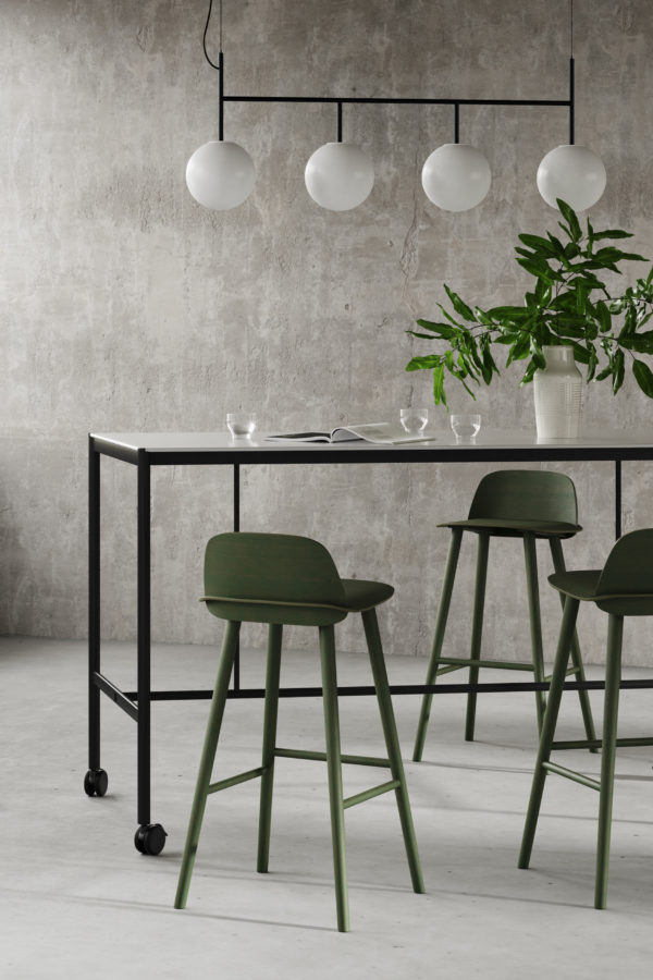 CHAT BOARD MIES Collab High Table with casters, in a break-out space setting