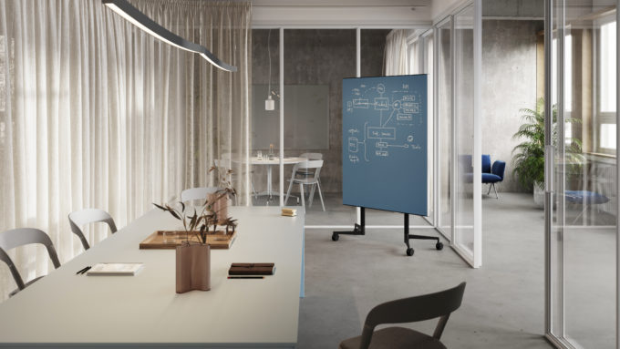 CHAT BOARD Move Acoustic in Denim in conference room setting