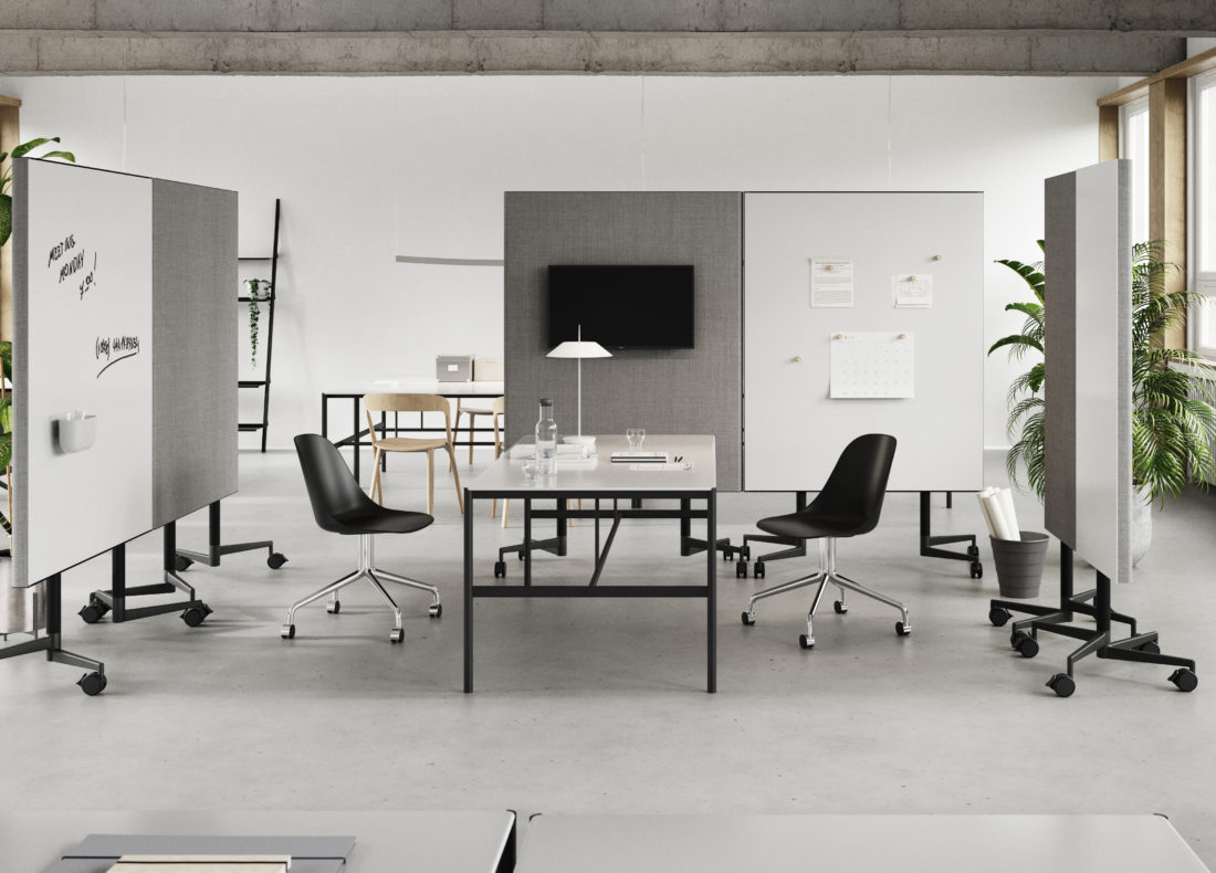 CHAT BOARD Move Acoustic as room dividers, with MIES Collab tables