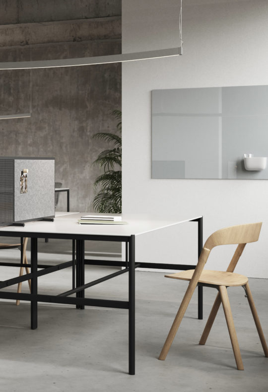 MIES Collab table, with SQUAD Poet desk screen