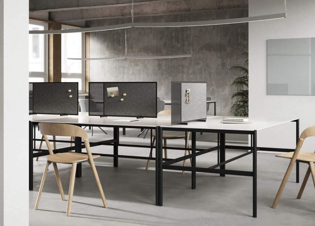 CHAT BOARD MIES Collab tables, with SQUAD Poet desk screens and Classic board